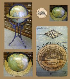 Only Roaring 20's Floor Globe made for Marshall Field & Co.  Chicago, Ill. we have encountered, Globe Maker: Weber Costello Co.; Cartographer: G.W. Bacon & Company (Published: ©1926. Chicago, Ill.)
