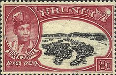 Brunei became a British protectorate in 1888. It became independent in 1983. The stamp shows Sultan Ahmed and pile dwellings in the town of Brunei.