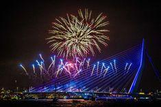 Vuurwerk tijdens de jaarwisseling bij de Erasmusbrug in Rotterdam