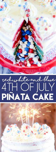 Fourth of July Piñata Cake http://www.somethingswanky.com/fourth-july-pinata-cake/?utm_campaign=coschedule&utm_source=pinterest&utm_medium=Something%20Swanky&utm_content=Fourth%20of%20July%20Pi%C3%B1ata%20Cake