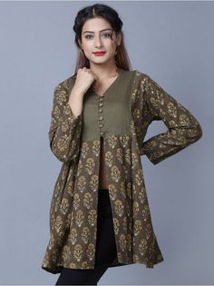 4fdcec87013 Olive Green Hand Block Printed Cotton Top Embroidery On Kurtis, Kurtha  Designs, Winter Dresses