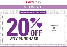 Pinned August 27th: 20% off at #SallyBeauty or online via promo code 555109 #coupon via The #Coupons App