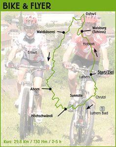 Streckeninformationen Biketour kurz (29,8 Km / 730 Hm) / geeignet für Hobby-Mountainbiker/innen und Elektrovelofahrer/innen