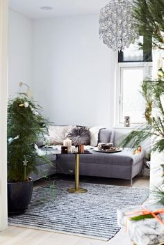 Christmas decorations in neutral living room