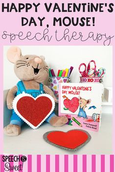 Happy Valentine's Day, Mouse by Laura Numeroff is a wonderful book to use for February speech-language therapy! This blog post explains how you can use this book to address comprehension, WH Questions, inferencing, sequencing, and more! It also features a fun and easy Valentine's Day kid craft! #valentinesday #speechtherapy #crafts