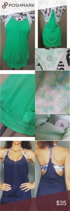 Lululemon Athletica Tank Top Great condition hardly any wear  Long tank with pleats on bottom Has open sides Built in sports bra with floral print Tank part is mint green Size 4  Last photo is what it looks like on a person lululemon athletica Tops