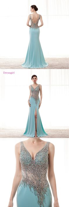 Turquoise Evening Dresses 2018 Mermaid V-neck Chiffon Beaded Crystal Slit Sexy Long Evening Gown Prom Dress Robe De Soiree