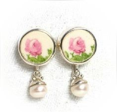 Broken China Jewelry Sterling and Pearl Earrings