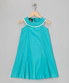 Another great find on #zulily! Aqua Poppy Morning Glory Yoke Dress - Infant, Toddler & Girls by Llum #zulilyfinds
