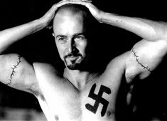 Derek, played by Edward Norton, from American History: X. Not the masterpiece everyone thinks, but Edward Norton is really hot. I always wanted to airbrush the swastika off his chest and make a giant pin-up of this pic. American History X, Edward Norton, Movies Showing, Movies And Tv Shows, Movie Stars, Movie Tv, Hard Movie, Movie Trivia, Celebrity Workout