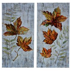 Copper Leaves 2 Piece Painting Print Set
