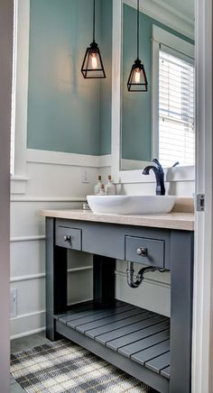 Coastal Bathrooms Guest Bathrooms Small Bathrooms Grey Bathroom Cabinets Bat Bathroom Aqua Bathroom Grey Cabinets Guest Bathroom Colors
