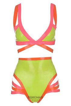 Latex Strappy Neon Bodysuit Set by ZorenkoLondon on Etsy