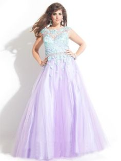 Ball Gown Bateau Sleeveless Applique Floor-length Tulle Plus Size Prom Dresses