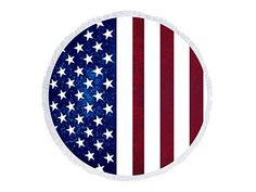Round Cotton Beach Towel Red White and Blue American Flag USA Wrap Poncho Tassel Trim 339753