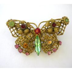 Pretty Vintage Jeweled Filigree Butterfly Brooch by Xulha on Etsy, $69.99