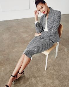 J.Crew women's Italian confetti houndstooth lady jacket and pencil skirt, silk pocket blouse in ivory and high-heel ankle-strap sandals in black.