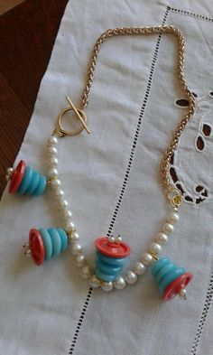 Necklace made with Vintage Buttons and Pearls by AllYouCanVintage on Etsy