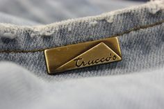 Plaque disegned to Truccos Jeans Jeans Button, Metal Buttons, Hang Tags, Label Design, Fashion Details, Industrial Style, Metal Working, Beige, Mens Fashion