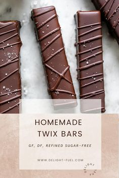 Healthy Candy, Healthy Vegan Snacks, Vegan Sweets, Healthy Dessert Recipes, Candy Recipes, Healthy Desserts, Paleo, Homemade Twix Bars, Homemade Chocolate Bars