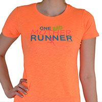One Bad Mother Runner Womens Tee - Our brightly colored, neon tee is sure to make a splash. Each light weight, heathered shirt features a slim, womens cut, cap sleeves, and textured ribbing in the fabric.  Show off your passion for running in style!