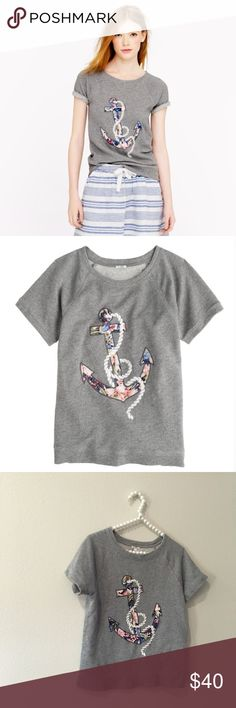 Adorable J. Crew Floral Anchor Top So cute and perfect for summertime! Light sweatshirt material with embroidered anchor detail. Excellent pre worn condition! No trades!! 0616163500gwb J. Crew Tops