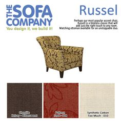 This weeks featured style? Russel! Perhaps our most famous accent chair, you'll love the way russell looks in your home! #accentchair #furniture #comfy  http://www.thesofaco.com/custom-furniture/accent-chairs/russell.aspx