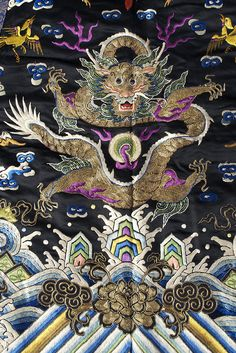 Detail of embroidered dragon on woman's sleeveless jacket, Chinese, late 19th century, KSUM 1983.1.785.