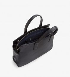 Satchel with adjustable and removable crossbody strap. Large pocket along front with hidden magnetic closure. Beautiful Handbags, Large Handbags, Leather Satchel, Shoulder Strap, Laptop, Vegan Leather, Accessories, Collection, Black