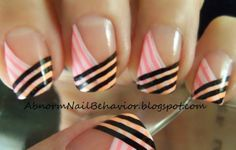 Funky spin on French Tips. Black white and neon colored nail art. French Nail Art, French Tip Nails, French Tips, Fabulous Nails, Gorgeous Nails, Pretty Nails, Pink Nail Colors, Nailart, Nail Design Video
