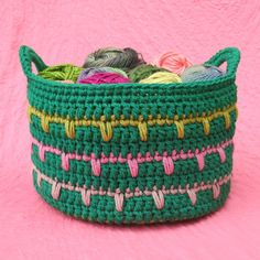 Spiky Stripey Crochet Basket | Keep your yarn organized with this uniquely stitched crochet basket pattern.