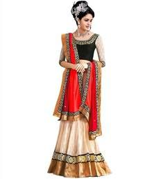 Buy Cream georgette embroidered  unstitched lehenga choli ghagra-choli online