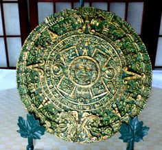 "Large Aztec Solar Sun Calendar 7 "" Wall Hanging Jade Green Stone Gold Tip Highlights, Aztec Pre-Columbian Indian, Mexican…"