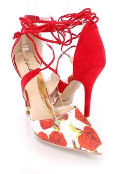 White Rose Print Single Sole Wrap Around Heels Fabric Sexy High Heels, High Heel Pumps, Womens High Heels, Pumps Heels, Stiletto Heels, Spring Shoes, Summer Shoes, Wrap Around Heels, Floral Heels