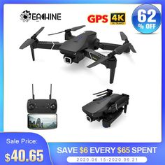 Sale Eachine E520S E520 GPS FOLLOW ME WIFI FPV Quadcopter With 4K/1080P HD Wide Angle Camera Foldable Altitude Hold Durable RC Drone Rc Drone, Drone Quadcopter, Camera Drone, Drone Diy, Angles, Folding Drone, Wifi, Carte Sd, Drone For Sale