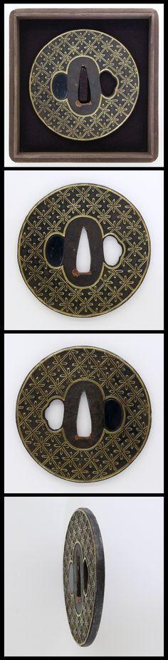 Edo Round shape iron Tsuba, cross and lattice pattern with brass inlay.
