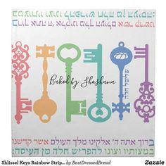 Shlissel Keys Rainbow Stripe Challah Dough Cover & Cloth Napkin Dinner Napkins, Cocktail Napkins, Custom Napkins, Challah, Your Design, Keys, Rainbow, Cover, How To Make