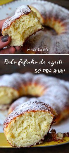 Bolo de Azeite de Oliva tem sabor delicioso. Iogurte garante a fofura, O açúcar/canela dá a surpresa. Detalhes transformam este bolo simples em um celestial