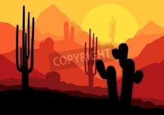 Cactus plants in Mexico desert sunset vector background mural