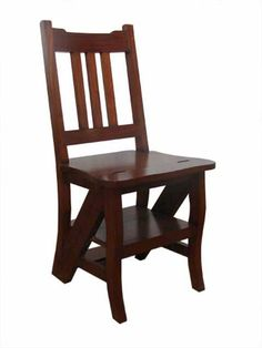 Reproduction late Victorian metamorphic library step chair. Height:90cm Width:44cm Depth:38cm