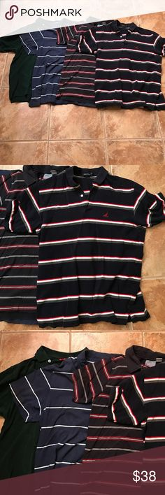 Bundle of 4 Men's Polo Shirts All worn but still very good condition! Two of the tops are great for the 4th of July especially! Top Red/White/Blue shirt is Nautica Brand size L. Second red/white/blue top is Aeropostale size L. Next Shirt blue/white is American Eagle Size L and the last Shirt is Forest Green IZOD Brand size M, but fits similar to the others. Bundle price is for all 4 shirts! CHEAPER ON MERC! Shirts Polos