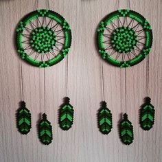 Green dreamcatcher hama beads by sistyria