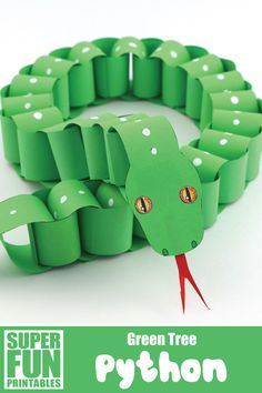 Make a paper chain snake that looks like a Green Tree python using our printable template. This is a simple paper craft idea with a realistic twist! There is also a Jungle Carpet python and a design-your-own paper snake template to make #snake #papersnake #snakecraft #paperchain #paperchainsnake #python #greentreepython #animalcrafts #kidsactivities #printables #superfunprintables #thecrafttrain