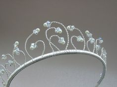 Handmade Swarovski crystal and pearl wedding tiara, bridal headdress. FREE UK P & P