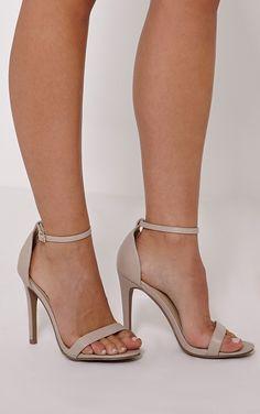 Clover Nude Strap Heeled Sandals