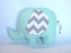 Stuffed Elephant Toy Pillow Mint Gray Chevron Toy Baby Nursery Décor, I want one even without a baby! LOL love