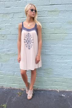 Fairhaven Cream Embroidered Crochet Crinkle Sundress