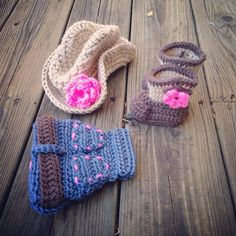 Crochet Cowgirl Set with boots hat and denim diaper by PSiLoveHaTs, $55.00