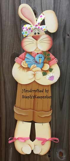 Bloomin' Spring bunny hanger, Wooden Boy Easter Bunny,Holiday, Welcome Greeter, Home Decor Easter Paintings, Christmas Paintings, Tole Painting Patterns, Craft Patterns, Easter Projects, Easter Crafts, Wood Snowman, Arte Country, Summer Painting