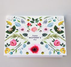 Mothers Day Scandinavian folk flowers card